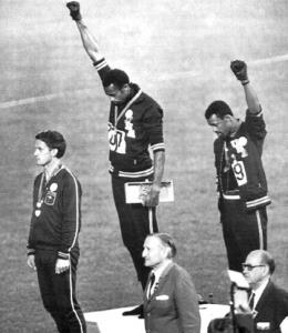 African-American athletes Tommie Smith and John Carlos in the 1968 Olympic games