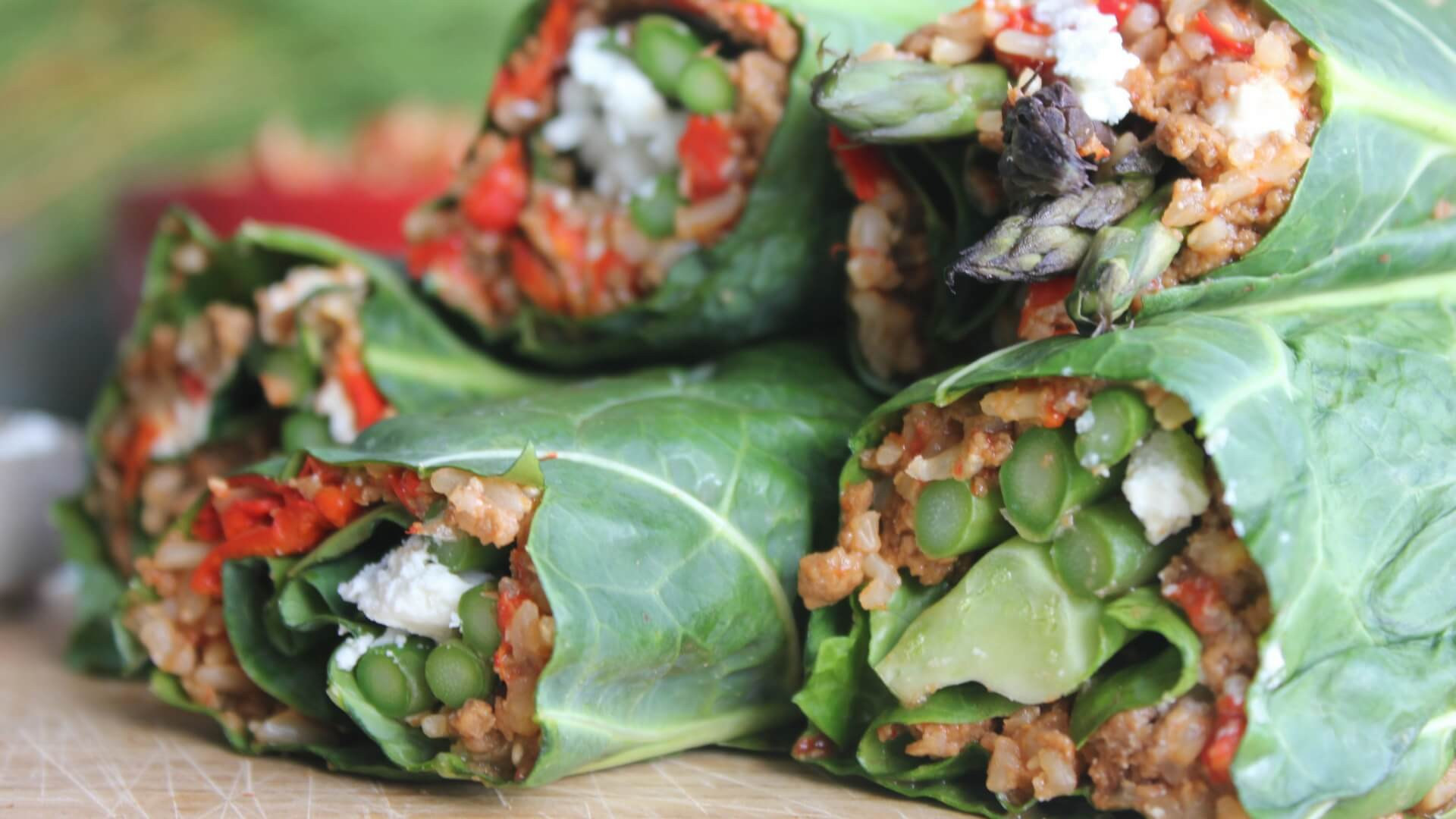 Red pepper and mince wraps