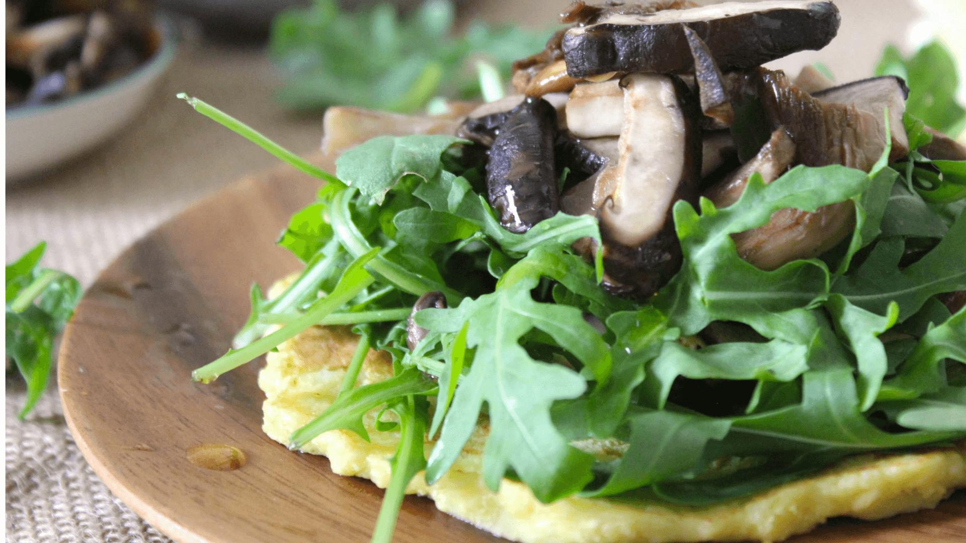 Cauliflower pancakes with wild mushrooms
