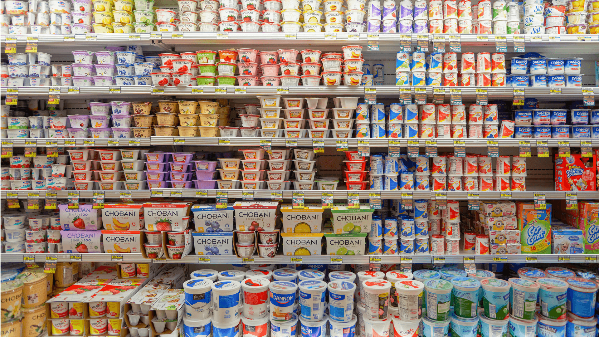 Array of yogurt in the supermarket