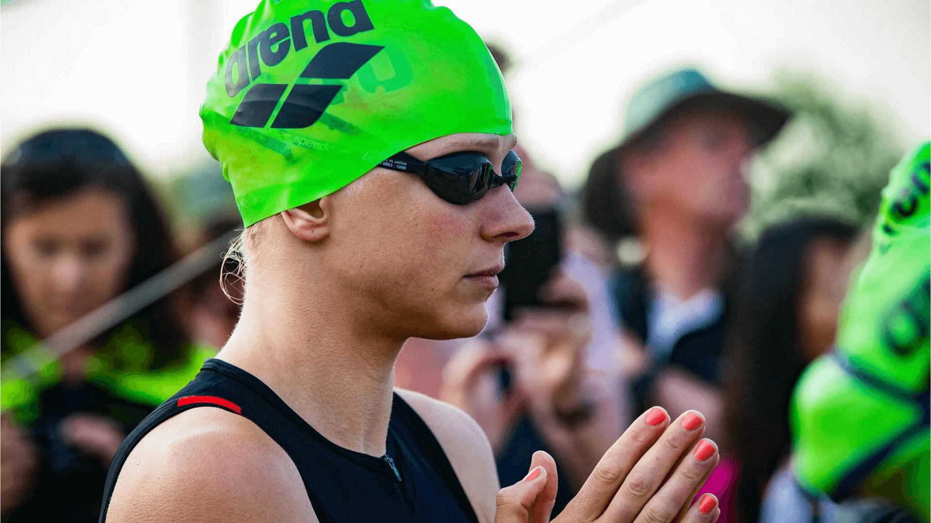Pleuni Hooijman at the start of the Frankfurt Ironman.   Photo by Andre Kwakernaat
