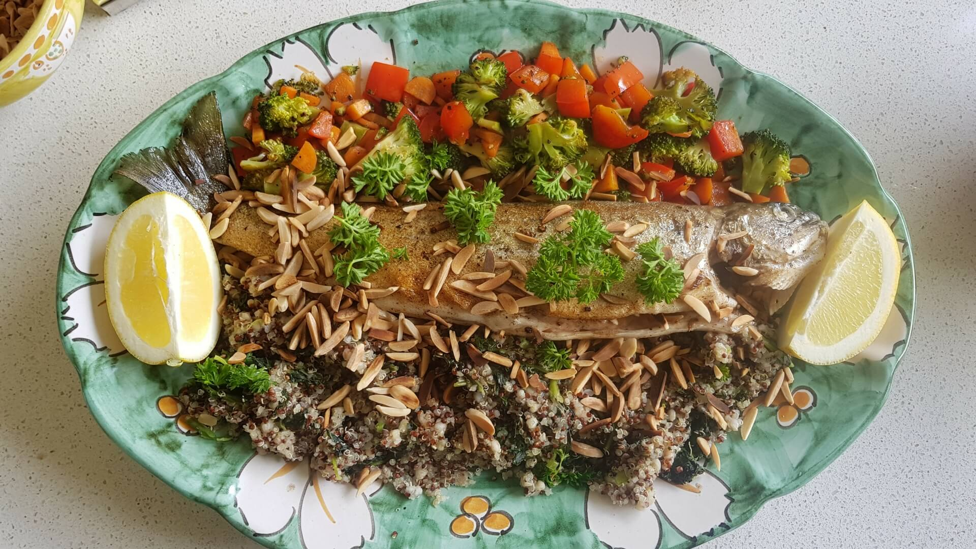 Trout with quinoa and veggies