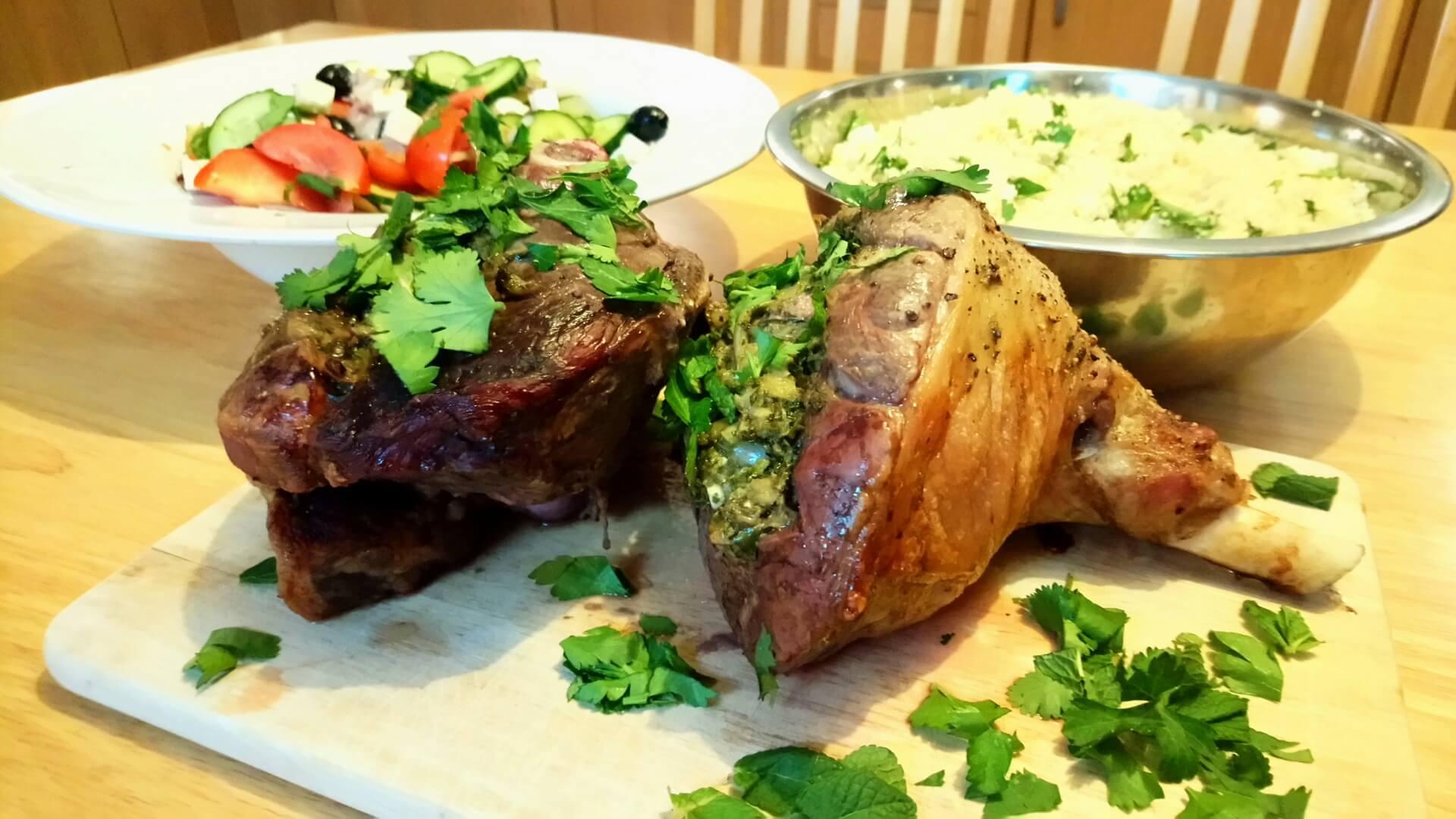 Roast lamb and Greek salad
