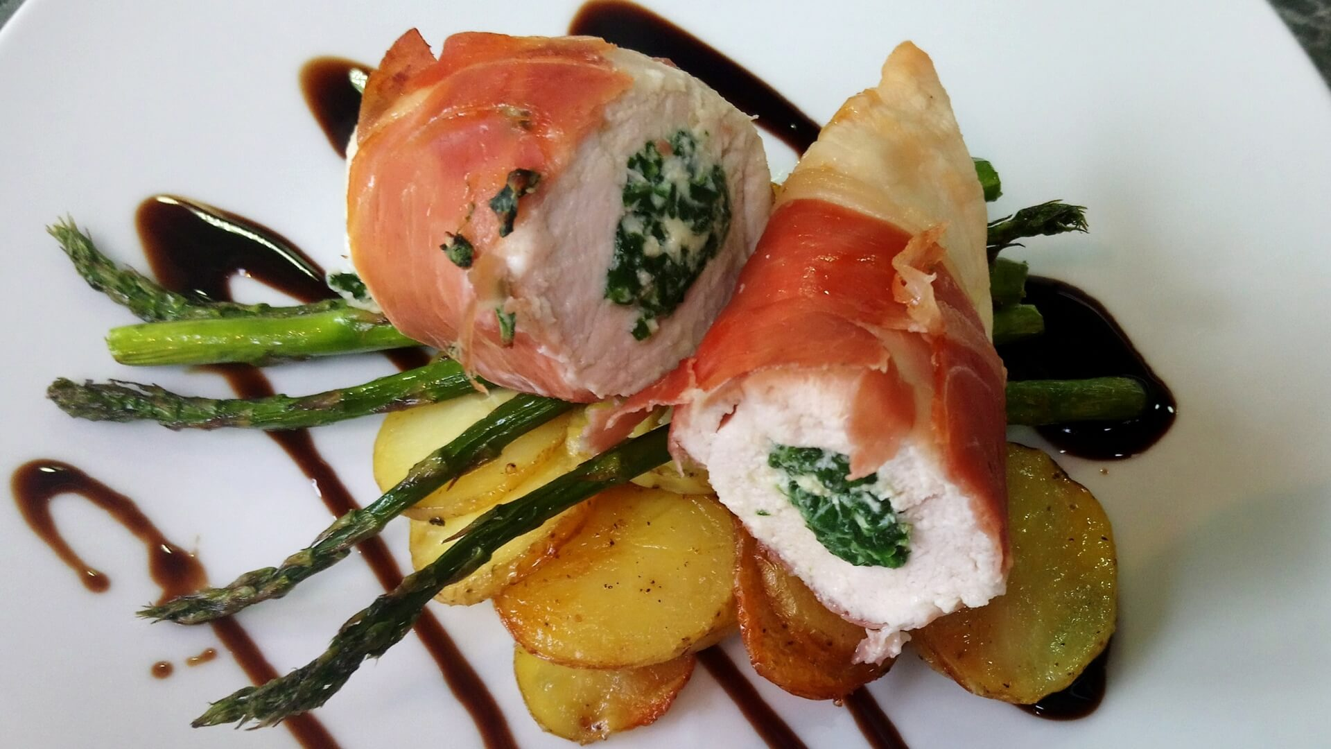 Spinach and ricotta stuffed chicken breast