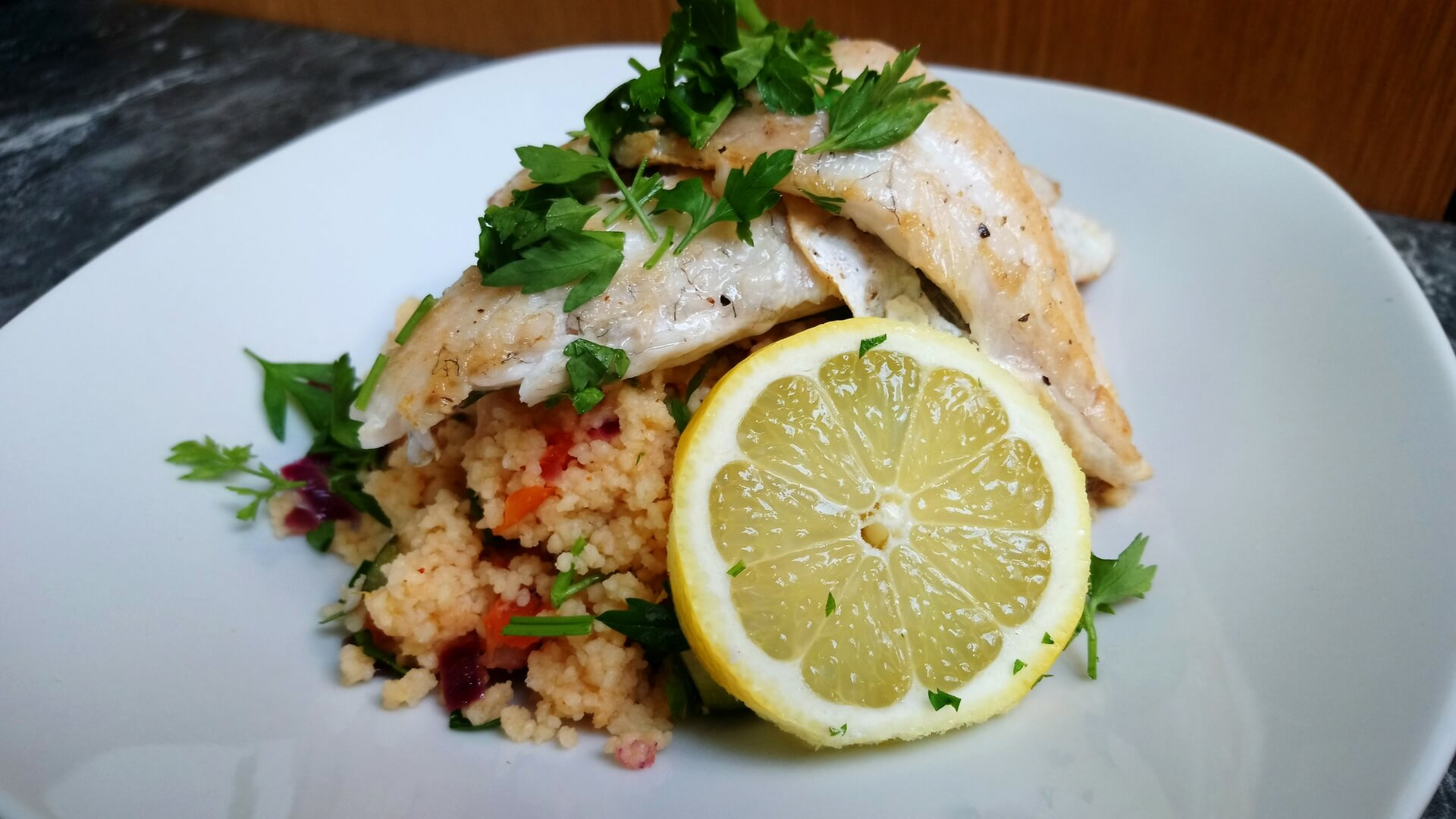 Pan fried sea bass with couscous