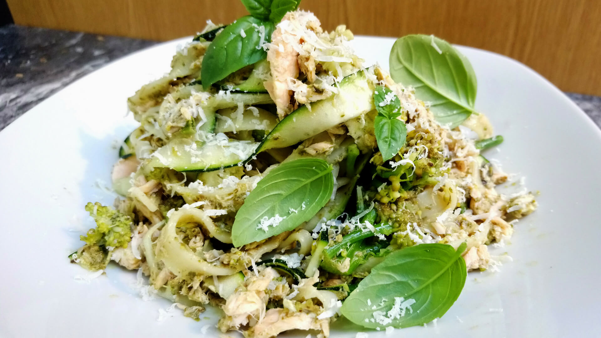 Salmon and pesto tagliatelle