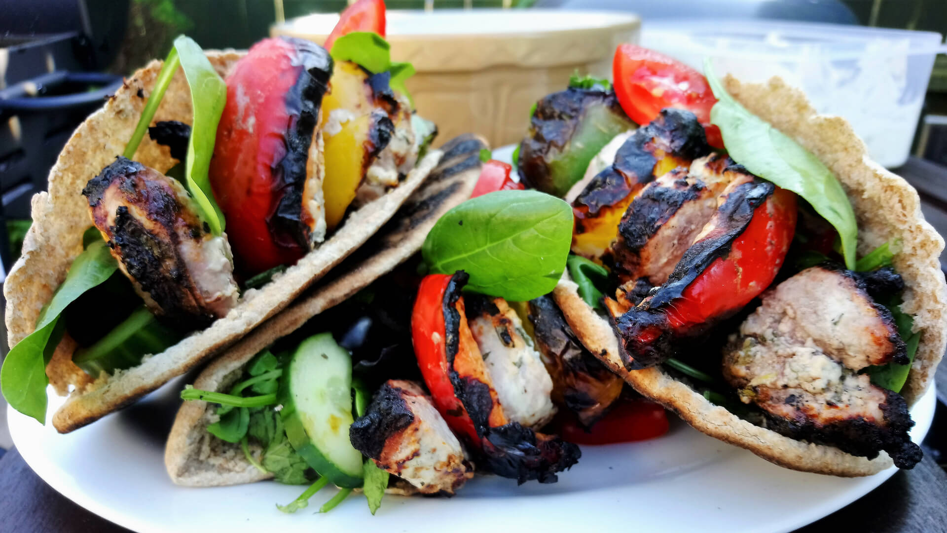 Grilled pork souvla in pita bread