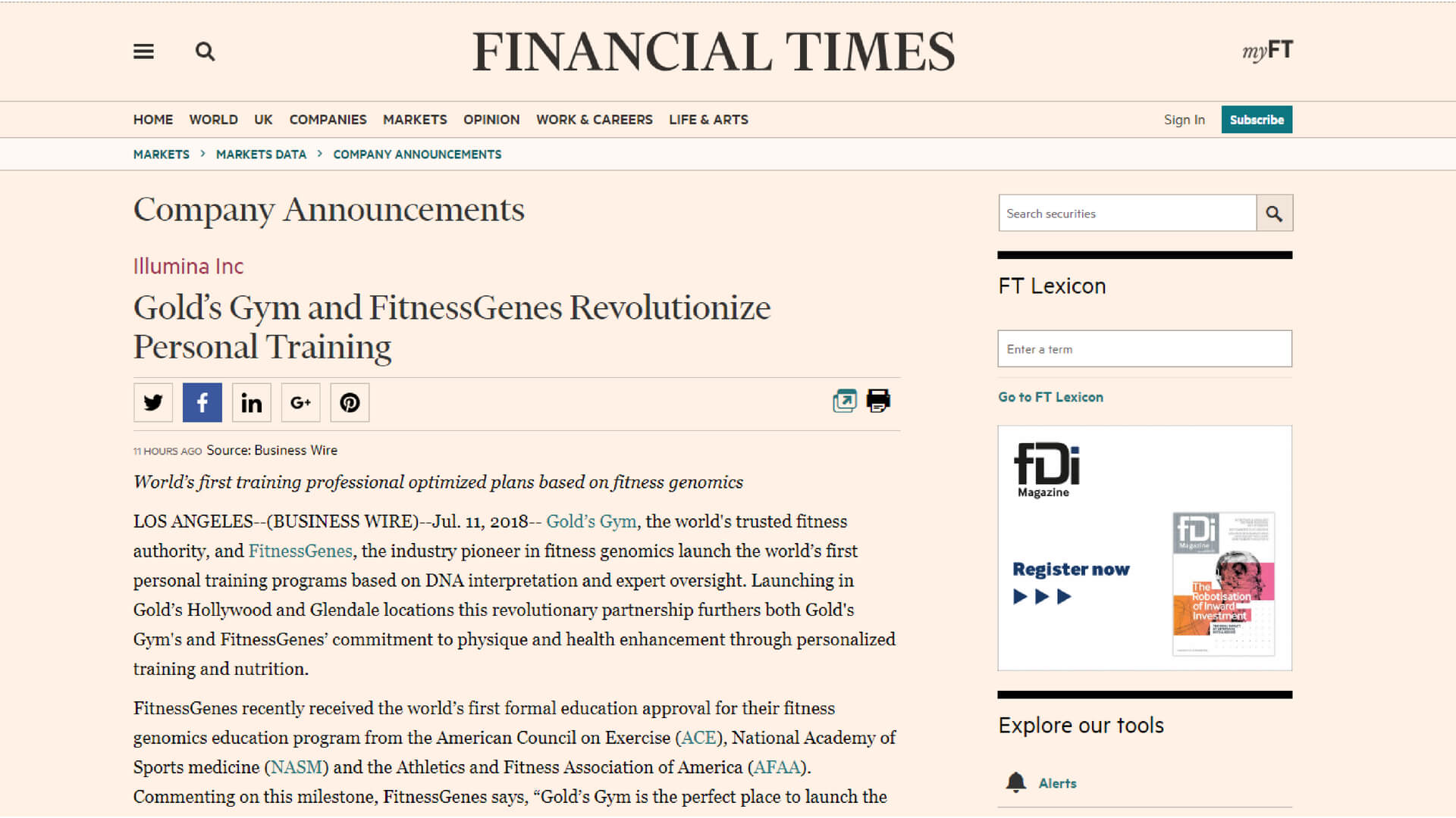 Financial Times-Gold's Gym and FitnessGenes Revolutionize Personal Training
