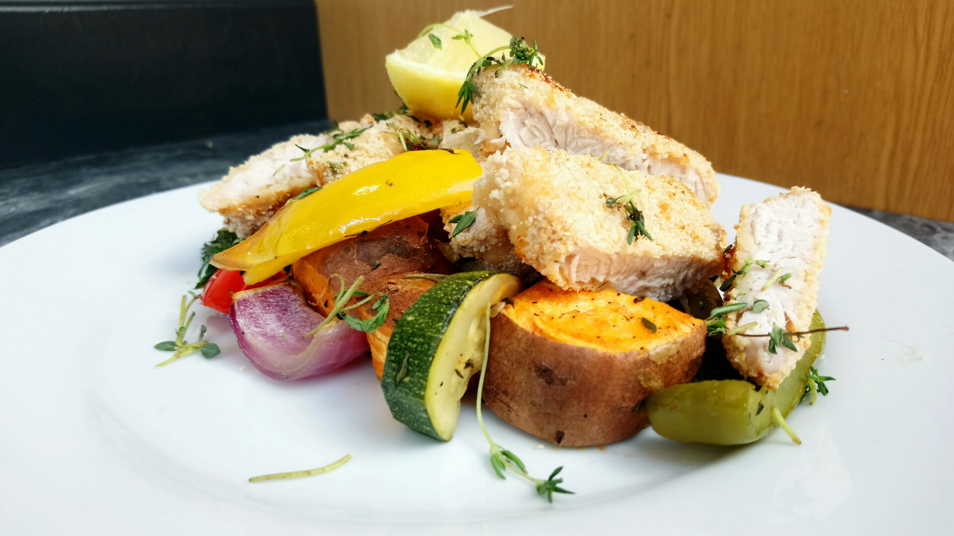 Turkey escallops with roasted vegetables