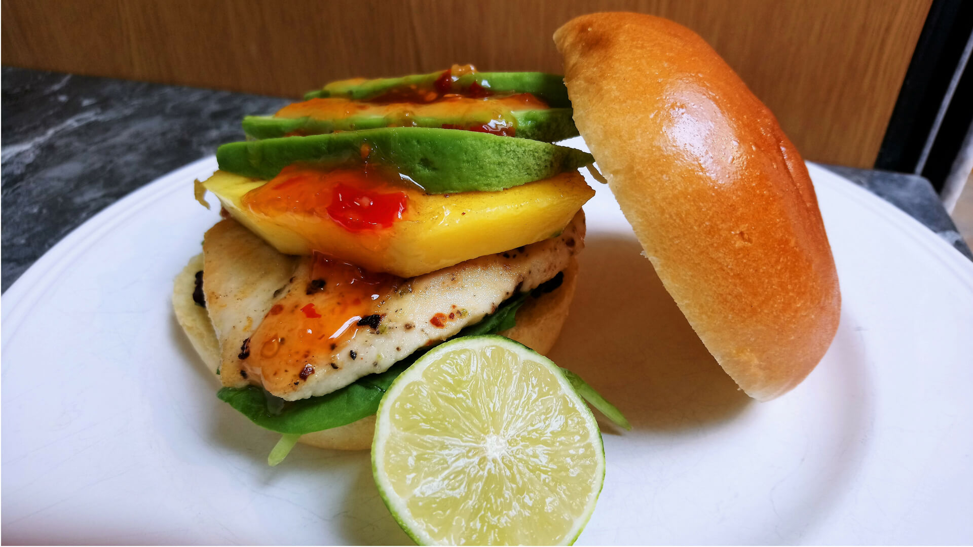 Spicy Chicken Burger with Mango