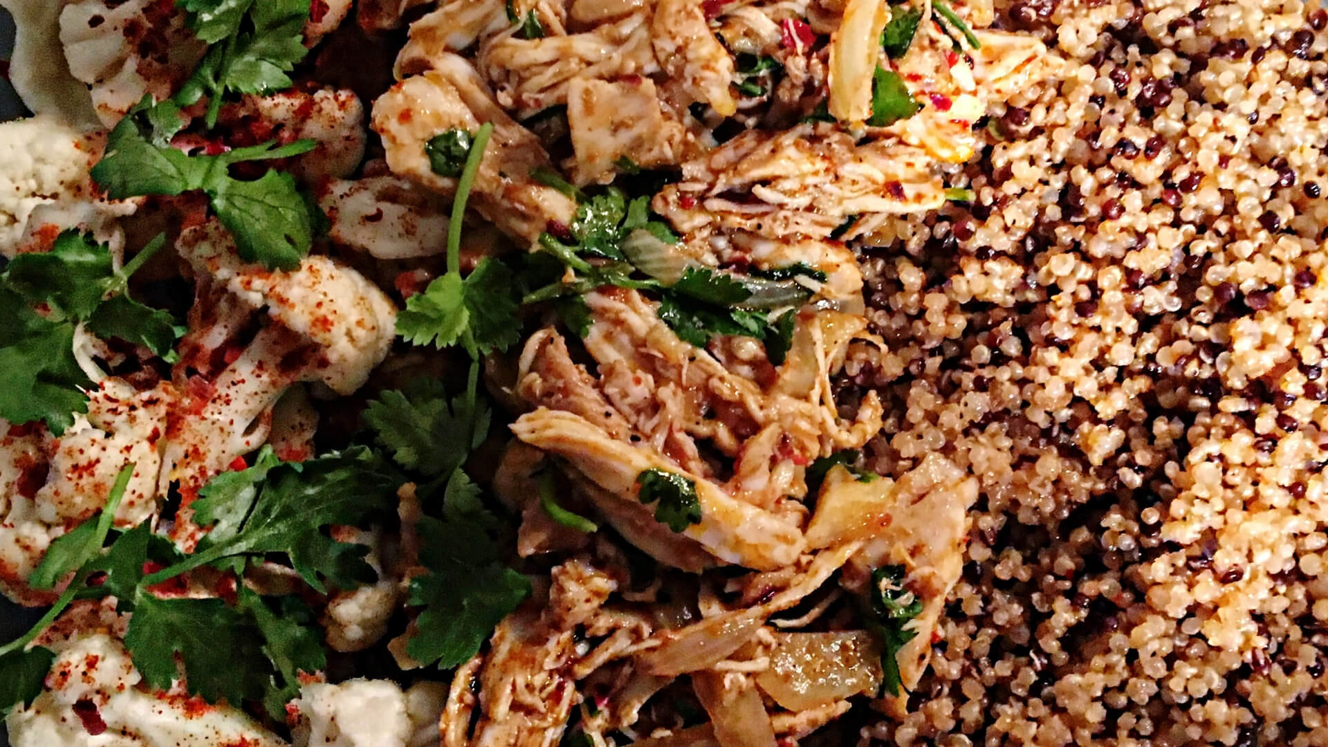 Pulled Chimichurri chicken & spiced quinoa